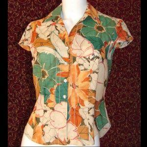 JONES WEAR green linen blend cap sleeve blouse 4